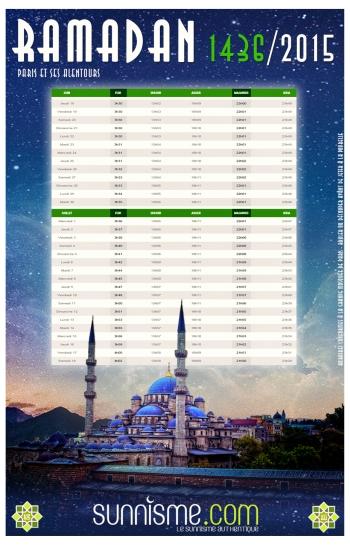 Calendrier Ramadan 2015